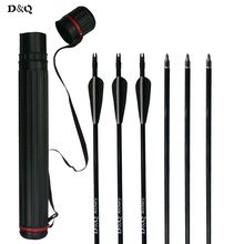 On sale 12pcs Fiberglass Arrows 30 Inch with Changeable Steel Point + 1 pc 25-40 inch Telescopic Adjustable Archery Arrow Tube Quiver