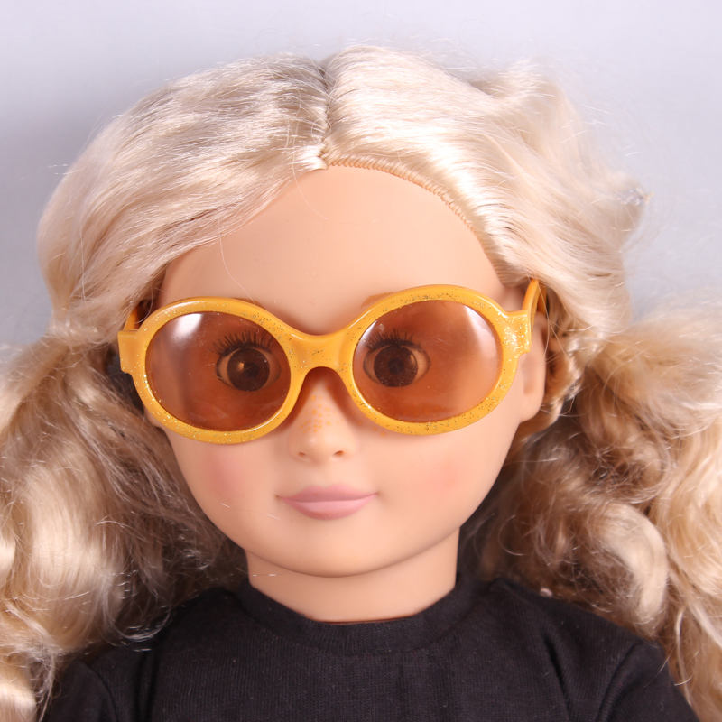Doll accessories Gold With Glitter Sunglass Wear fit 18 American Girl Doll Children best Birthday Gift