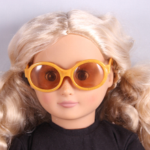 Doll accessories,Gold With Glitter Sunglass Wear fit 18″ American Girl Doll , Children best Birthday Gift