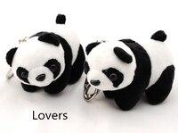 Couple Panda Model Keychain Keyring Bags Charms Accessories Pendant Key Holder Cute Animal Stuffed Plush Toy Ethnic Gift