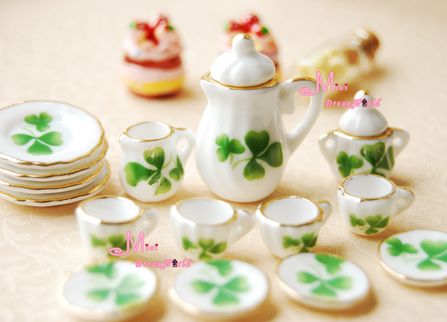 Free Shipping~1/12 scale Toy Dollhouse Miniature Green Leave Porcelain Tea Coffee Dinner Set 15PCS For Dolls