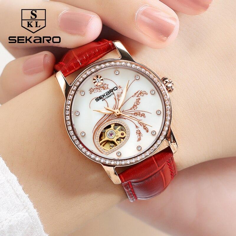 Mulheres Diamantes de Luxo de Couro SEKARO Moda relógio Mecânico Qualidade Superior Padrão de Flor de Lavanda Relógio das Mulheres Relógio de Pulso Presente - 3
