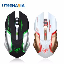 лучшая цена T1 Wireless Gaming Mouse Mute Button Silent Click Rechargeable 2400DPI Optical Colorful Backlight For Tablet Laptop PC Computer