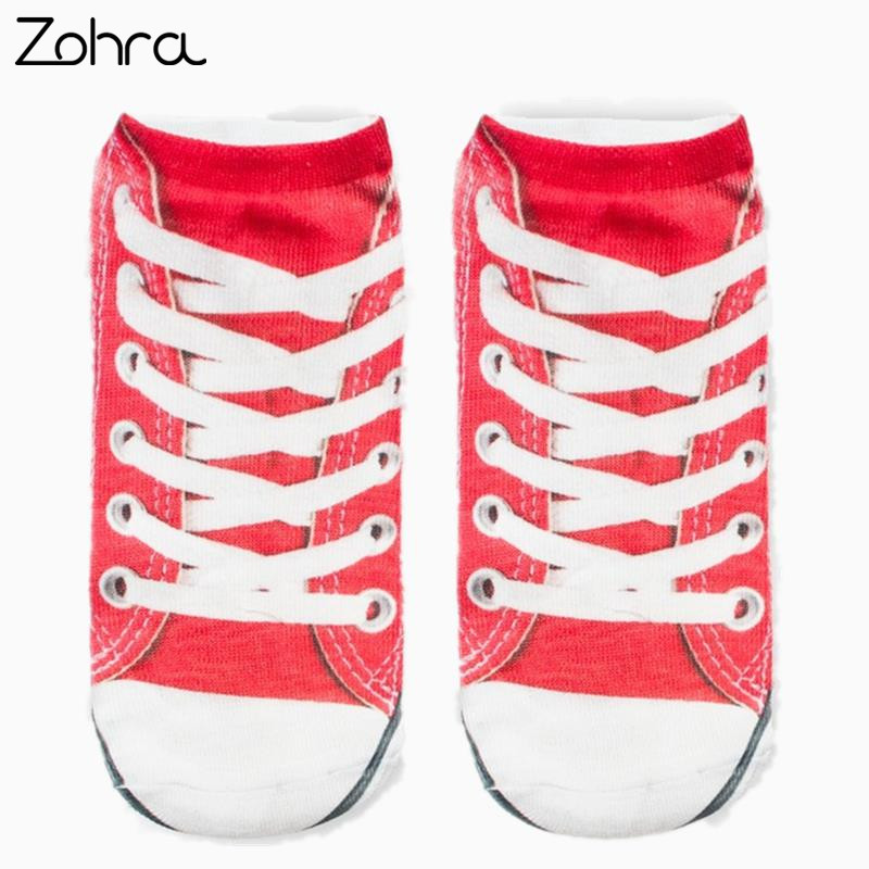 Zohra Canvas shoes Graphic 3D Full Print Unisex Low Cut Ankle Socks Multiple Colors Cotton Sock Casual Hosiery