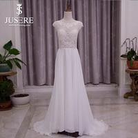 Vestido De Novia распродажа Jusere Line шифон Hem Illusion лиф Танк кнопки назад с кружевной аппликацией небольшое свадебное платье