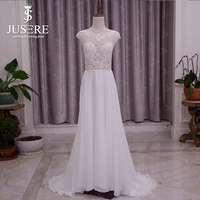 Vestido De Novia Real Sale Jusere A Line Chiffon Hem Illusion Bodice Tank Back Buttons Lace Appliques Slight Wedding Dress