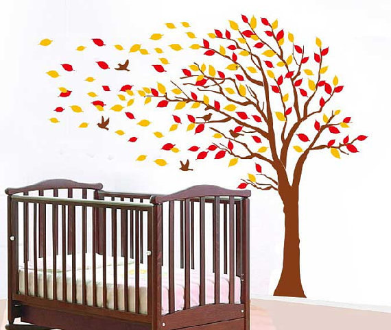 Autumn Tree Falling Leaves And Flying Birds Vinyl Wall Decals Kids - Vinyl wall decals kids