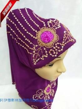 2015 new Muslim muslim hijab Handmade Beaded disc cap scarf hijab fashion