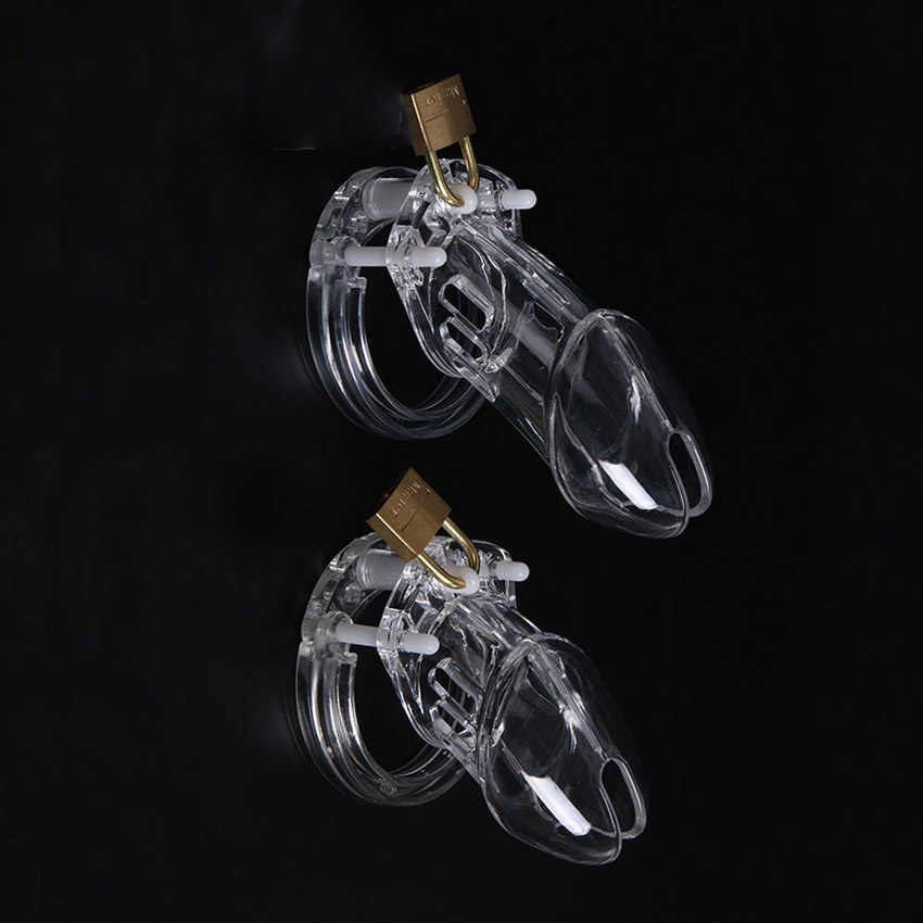 1 סט פלסטיק זכר צניעות מכשיר עם גודל פין טבעת זין כלובי טבעת מנעול בתולים חגורת צעצוע מין לגברים פין שרוול
