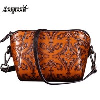 AEQUEEN Embossed Genuine Leather Shell Crossbody Bag Retro Women Messenger Bag Chinese National Style Shoulder Bags Small Bolsa