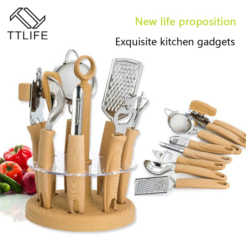 kitchen utensil sets cheap cabinet doors ttlife 8 pcs set stainless steel cooking tools gadgets tool with wood holder bottle opener in from home