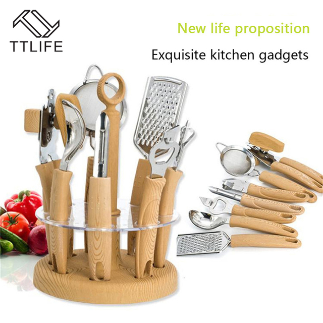 Ttlife 8 Pcs Kitchen Utensil Set Stainless Steel Cooking Tools Sets Gadgets Tool With Wood Holder Bottle Opener