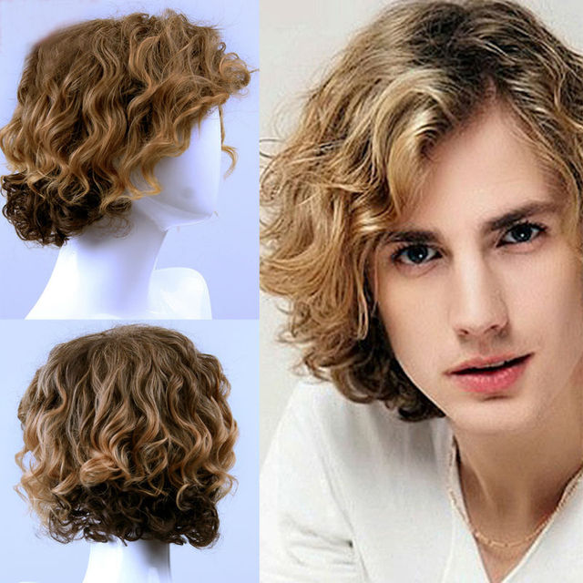 a7f199f44 Hot Sell! new stylish Man short curly synthetic blonde wig on ...