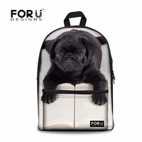 FORUDESIGNS Funny 3D Pug Dog Student School Bags Book Bags Casual Women Shoulder Laptop Backpack Daily