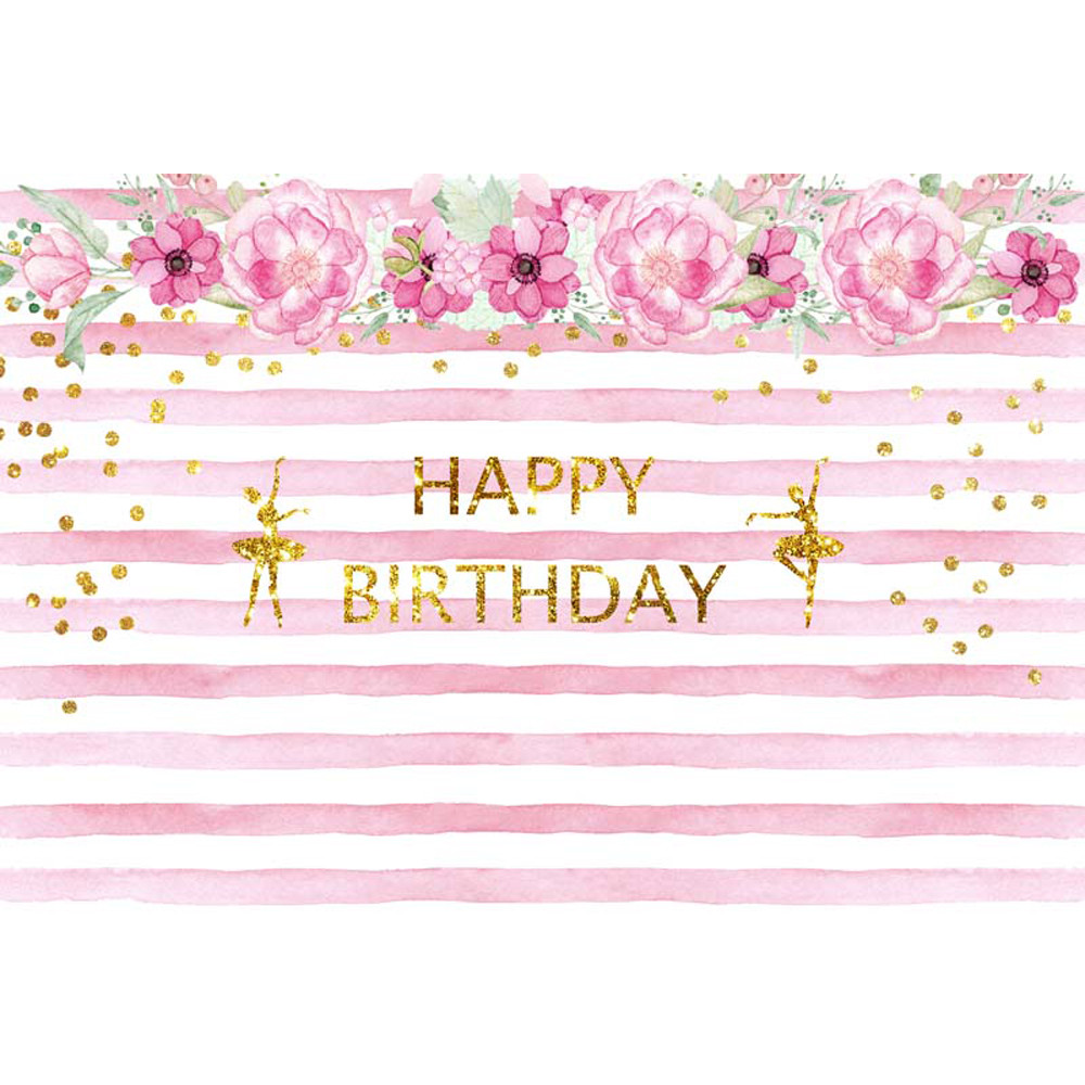 Online Shop Princess Baby Happy Birthday Backdrop Printed Flowers Gold Polka  Dots Dancing Girls White Pink Striped Photo Booth Background  94d1f6671