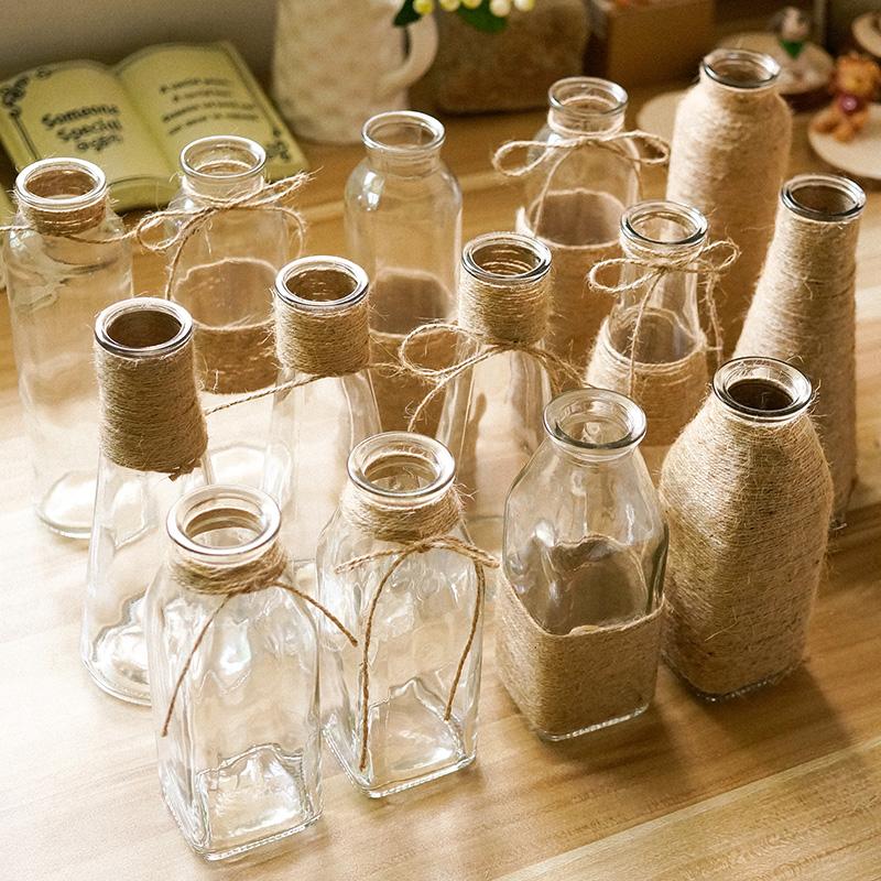 botella de vidrio florero florero de cristal retro de camo decoracin arte hecho a mano