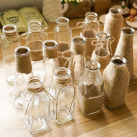 Transparent glass vase retro hemp glass bottle flower vase decoration art handmade vase creative vintage home decor