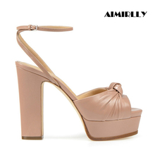 Fashion Women Chunky Heel Sandals Platform Pumps Ankle Strap Knotted Heels Summer Shoes Lady Party Wedding Dress Shoes retro women s pumps with chunky heel and platform design