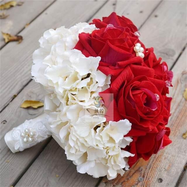 Tienda Online Moda nupcial novias ramo de novia rojo y blanco