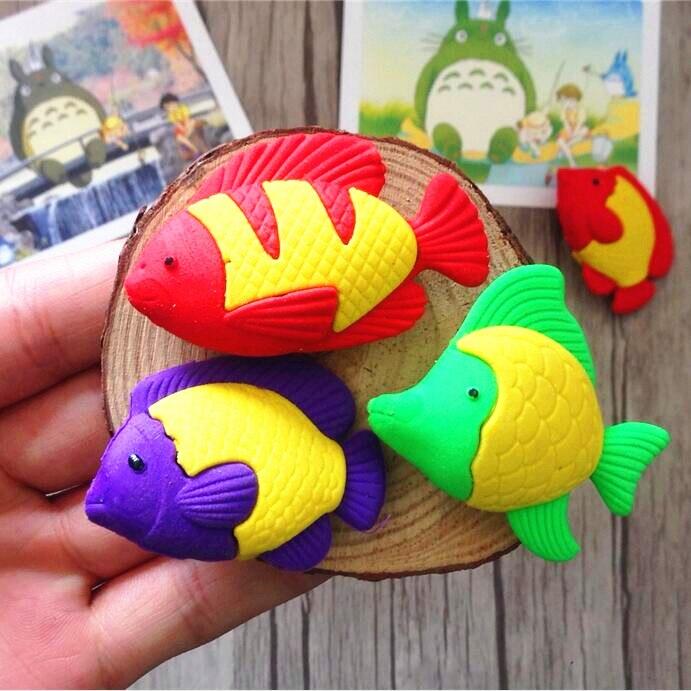 1pcs/lot Fish Pencils Eraser Rubber For Kids Gifts Non-toxic Safe Gomas De Borrar School Supplies Material Escolar