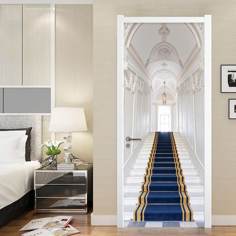 3D Stereo Stairs Building Door Sticker Living Room Bedroom Home Design Wall Decals PVC Waterproof Wallpaper Door Poster 3D Mural