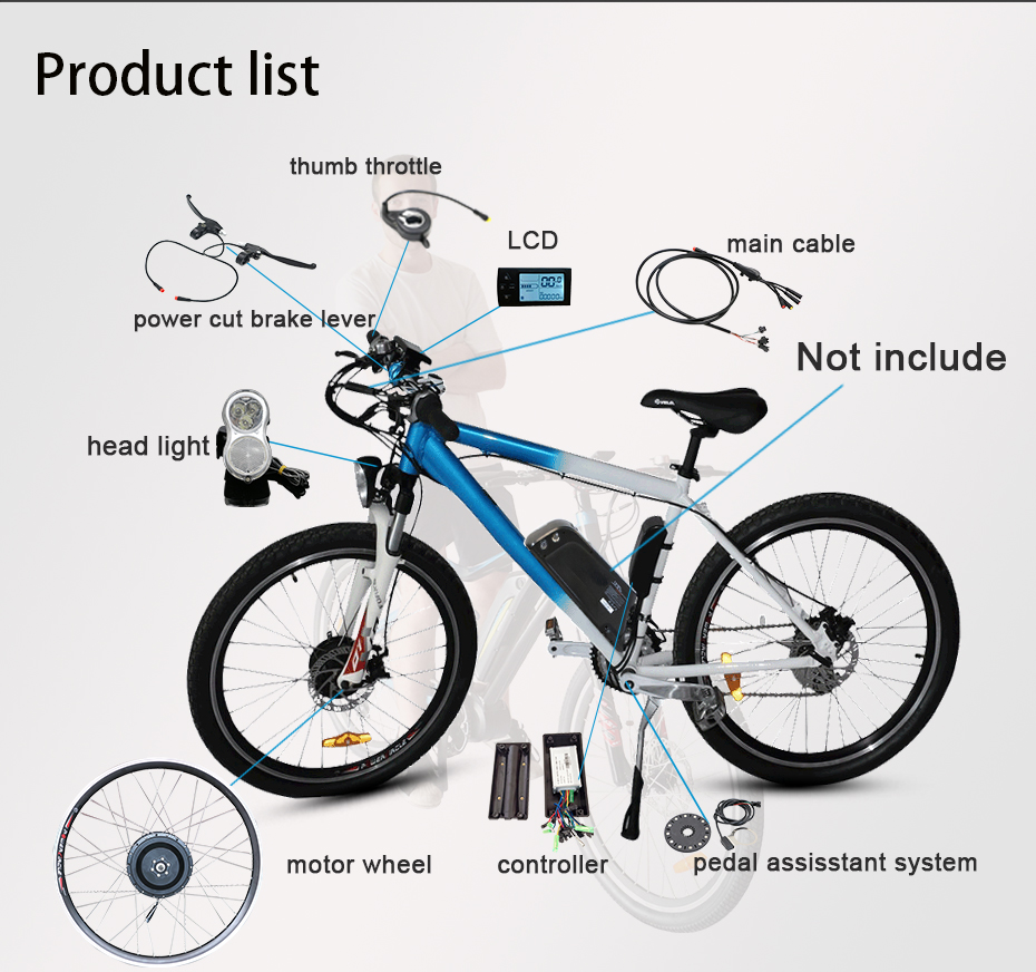Best DIY 2018 New Brushless Electric Bicycle Kits NO Battery 36V 250W 350W 500W Motor Controller Electric Etc Bicycle Conversion Kit 3