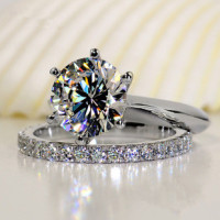 Luxury Quality 2 Carat SONA Synthetic Diamond Wedding Ring Set Bridal Set Engagement Ring Set For