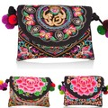 New National Ethnic Embroidery Bags Fashion Peony Embroidered Shoulder Messenger Bags Women's Small Clutch Handbag