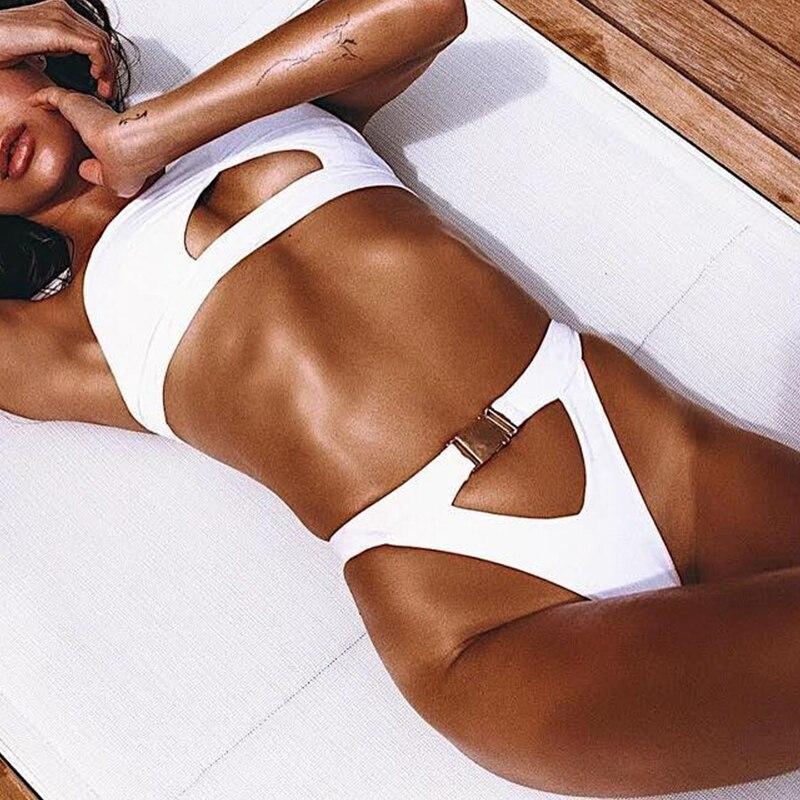 In-X One shoulder bikini 2019 Buckle high cut swimsuit Sexy thong bikini Hollow out bathing suit White push up swimwear women