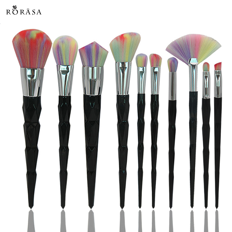 10pcs Black Diamond Handle Makeup Brushes Set Rainbow Hair Foundation Powder Blush Kabuki Brush Kits Blending Cosmetics Tools 2017 jessup brushes 5pcs black silver beauty kabuki makeup brushes set foundation powder blush makeup brush cosmetics tools t063