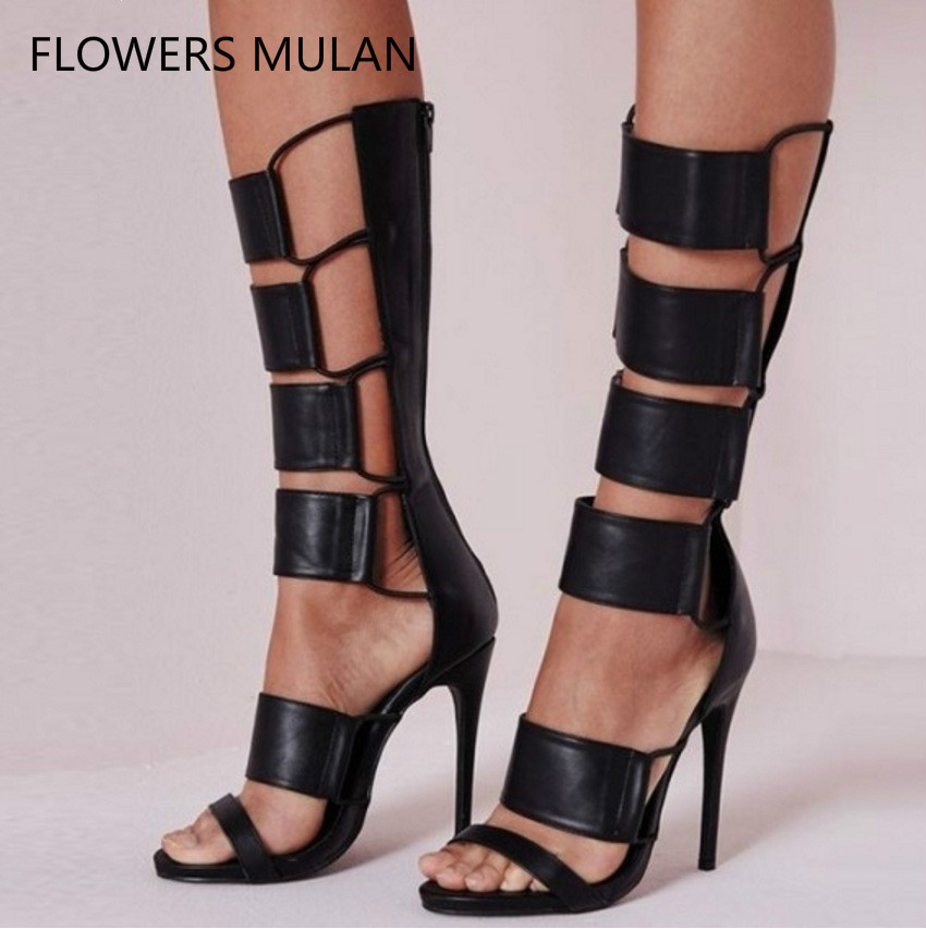 Black Genuine Leather Upper Fashion Women Boots Summer Peep Toe Frework Rubber Band Lady Rome Boots Sandals Cool Shoes Woman 2017 new summer fashion women casual shoes genuine leather lady leisure sandals gladiator all match ankle peep toe flowers