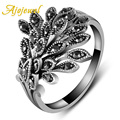 Ajojewel Brand Black CZ Phoenix Fashion Rings For Women Animal Jewelry Bijoux Cute Gift
