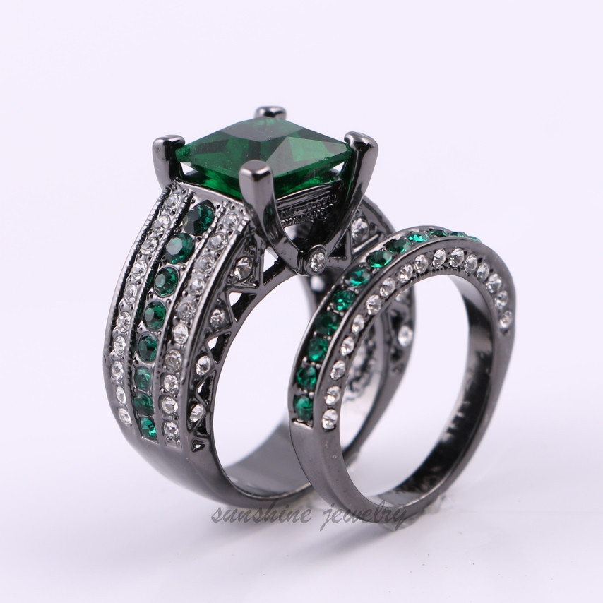 Green Cubic Zirconia Black Plated Women S Gold Wedding Ring Set Engagement Turkish O Jewelry Maxi In Rings From