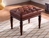 Американский стиль туалетный стул твердой древесины кожи педаль простой кровать конце стула Континентальный длинные обуви Bench спальня мак