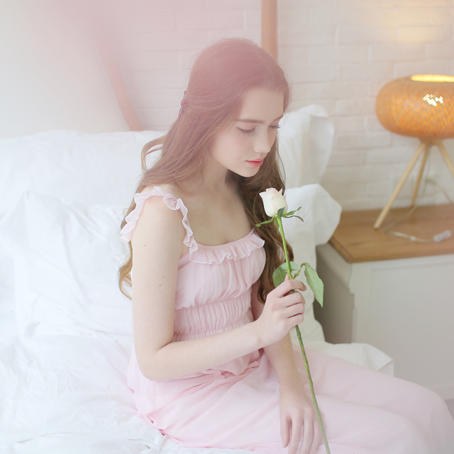 High Quality Summer Modal Ladies' Strap Nightgown Sweet Lace Pink Nightwear Women White Sleeveless Long Nightdress Comfortable