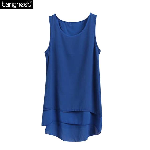 cdf0001b4db70 TANGNEST Chiffon Sleeveless Tank 2017 New Fashion Women s Tanks Top Medium  Long Asymmetrical False Two Layered Tops WBX113