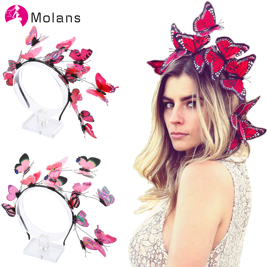 Molans Solid Flutter Faerie Butterfly Headbands Colorful Bogus Butterflies Wild Hair Hoop Woodland Photo Shoot Hairbands