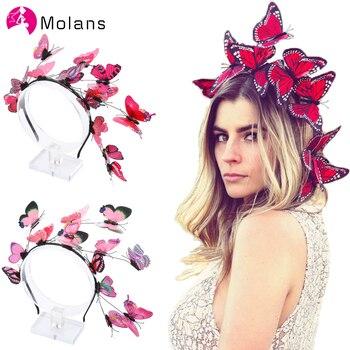 Molans Solid Flutter Faerie Butterfly Headbands Colorful Bogus Butterflies Wild Hair Hoop Woodland Photo Shoot Hairbands faerie tale