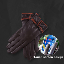 Hot new ladies leather gloves autumn and winter warm plus velvet thick touch screen Korean female L18011NC-5