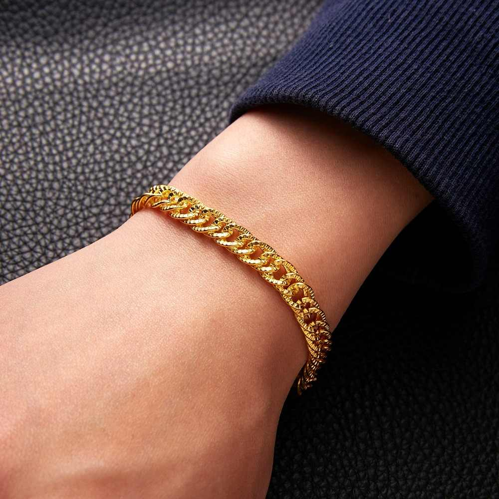 Punk Bracelets 21cm Gold Curb Snail Venitian Link Chains Men's Bracelets Birthday Party Jewelry Gifts for Men Male Bracelets