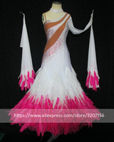 2018 dress standard Woman Modern Waltz Tango Dress standard Ballroom Competition Costume,white,Feather