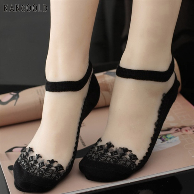 Kancoold Coolbeener socks women meias Ultrathin Transparent calcetines Beautiful Crystal Lace Elastic Short Socks mar27