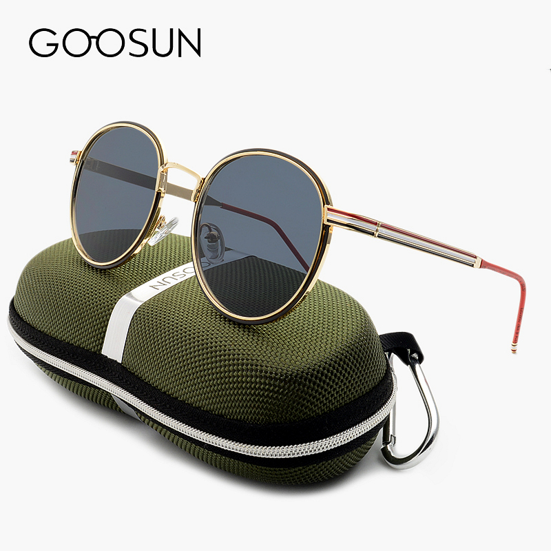 GOOSUN Gothic Steampunk luxury Brand Mens Sunglasses Coating Mirror Vintage Round Circle Sun glasses Retro Oculos Masculino sol