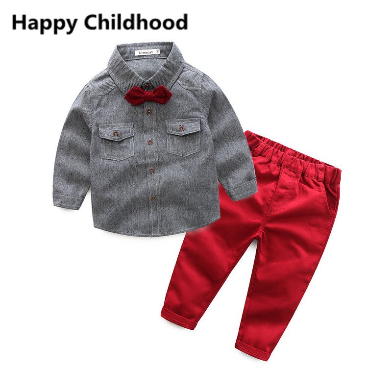Spring Fashion Gentleman Boys Clothes 2pcs children boy clothing sets plaid shirt with bowtie+pants kids clothes costume for boy