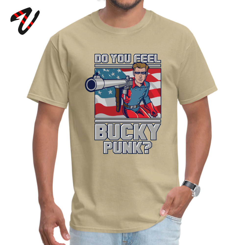 Custom Unique T Shirt Short Sleeve for Men 100% Cotton Fabric NEW YEAR DAY Round Neck T Shirts Normal T-Shirt Hot Sale Do You Feel Bucky Punk -12908 beige