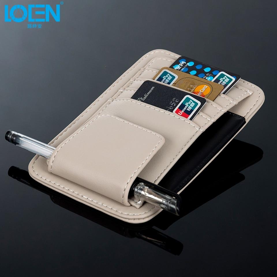 1PC High grade artificial leather Multi function Car Sun Visor card holder Glasses Pen Card Organizer