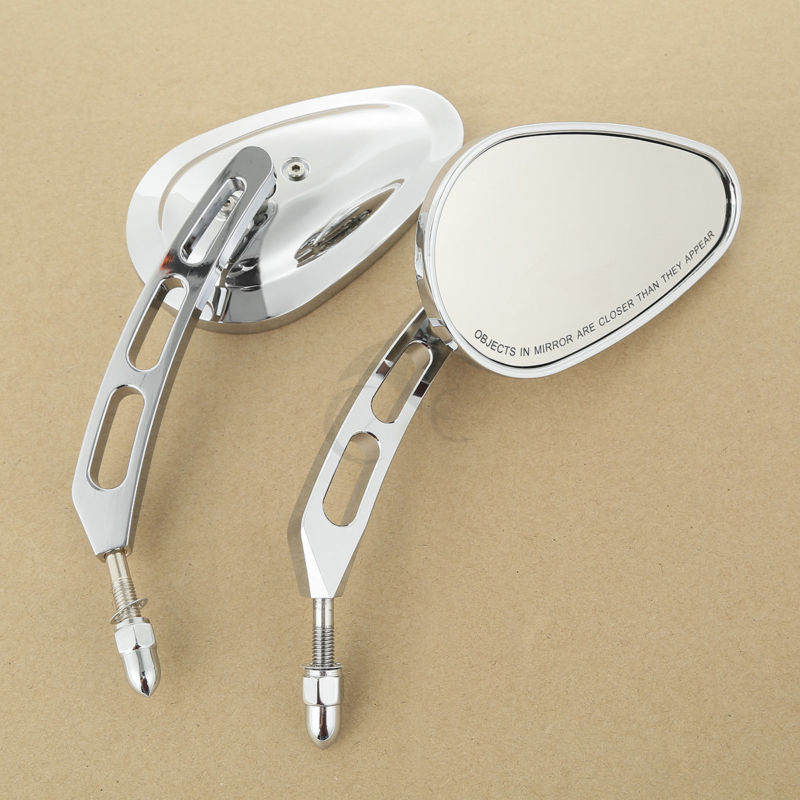 Chrome Universal 8mm Rear View Mirrors For Harley Touring FLHR Road Glide Heritage Softail Classic FLSTC