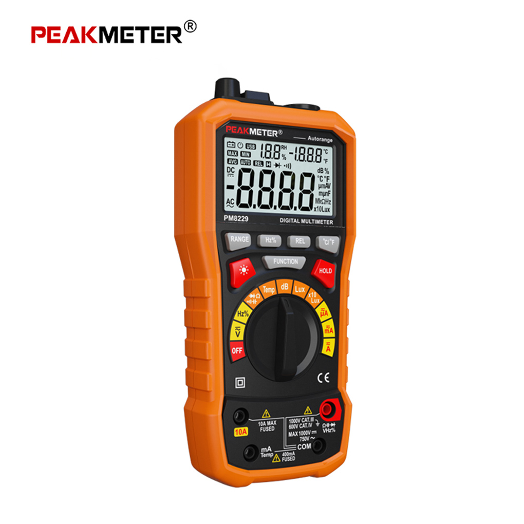 PEAKMETER MS8229 5 in 1 Multifunctional Digital Multimeter Lux Sound Level Frequency Temperature Humidity Auto Tester Meter brand new professional digital lux meter digital light meter lx1010b 100000 lux original retail package free shipping