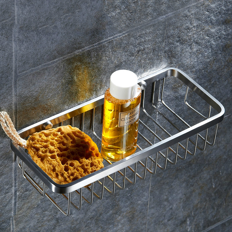 Modern 304 Stainless Steel Cosmetic Storage Rack Brushed Nickel Bathroom Shelf Corner Basket Mounting Bathroom Accessories M36