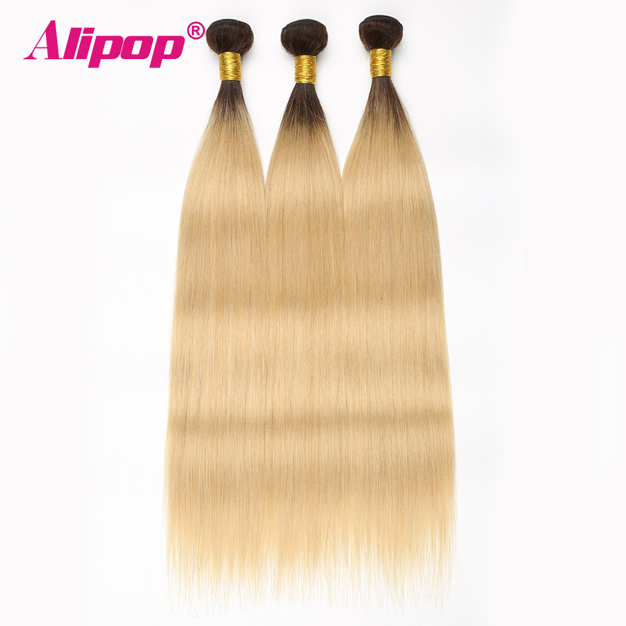 ALIPOP T1B/ 613 Brazilian Straight Human Hair 3/4 Bundles Deal Ombre Blonde hair weave bundles Non Remy Human Hair Extensions